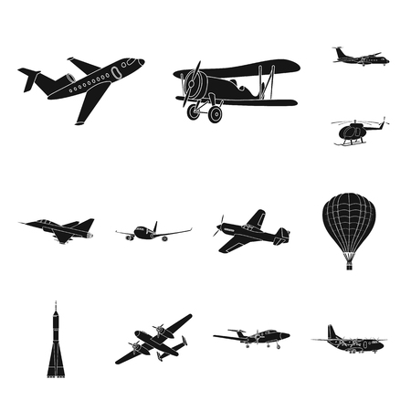 Vector illustration of plane and transport symbol. Collection of plane and sky stock vector illustration.