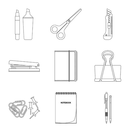 Isolated object of office and supply symbol. Set of office and school stock vector illustration. Ilustração