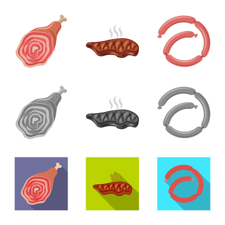 Vector design of meat and ham logo. Collection of meat and cooking stock symbol for web. Illustration