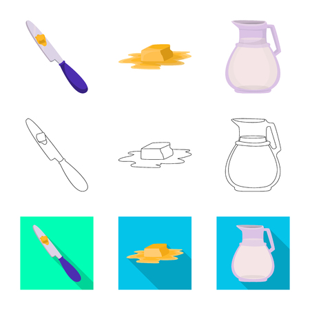 Vector design of creamy and product icon. Collection of creamy and farm stock vector illustration.