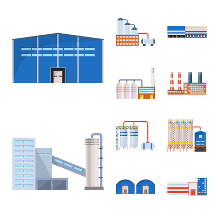 Isolated object of industry and building icon. Set of industry and construction stock symbol for web.