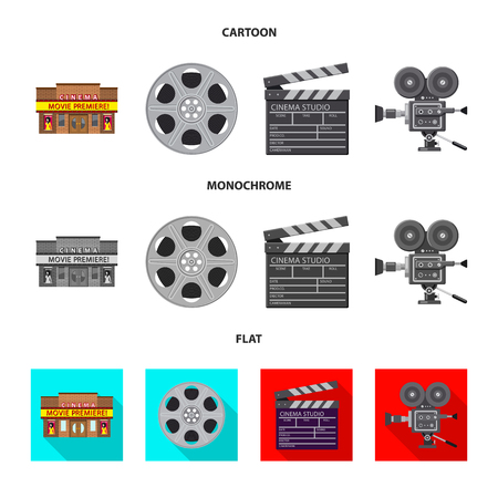 Vector illustration of television and filming sign. Collection of television and viewing vector icon for stock.