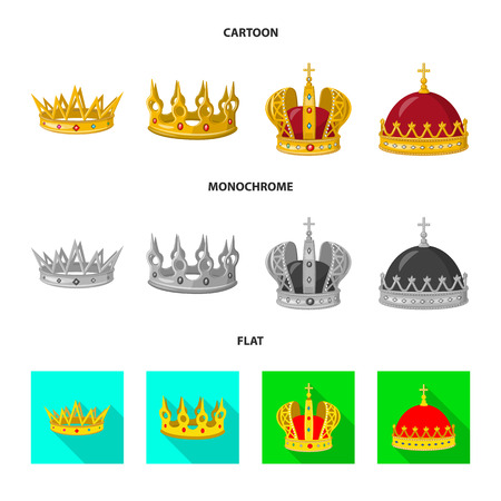 Vector illustration of medieval and nobility icon. Collection of medieval and monarchy vector icon for stock.