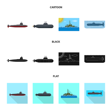 Isolated object of war  and ship icon. Set of war  and fleet stock symbol for web. Vettoriali