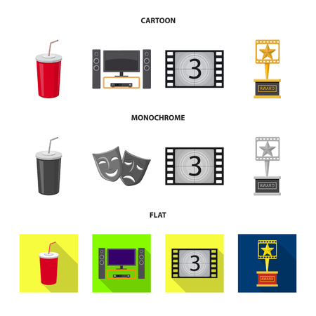 Isolated object of television and filming logo. Set of television and viewing stock vector illustration. Çizim