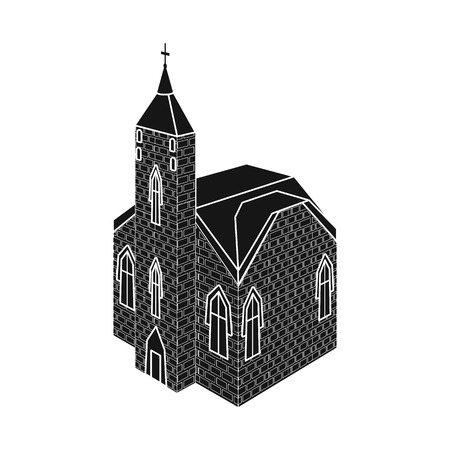 Isolated object of church and catholic logo. Set of church and medieval stock vector illustration.