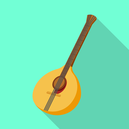 Vector illustration of guitar and mandolin logo. Collection of guitar and instrument vector icon for stock.