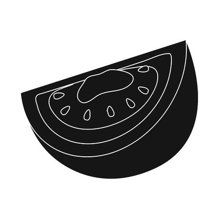 Vector illustration of half and tomato symbol. Collection of half and slice stock vector illustration.