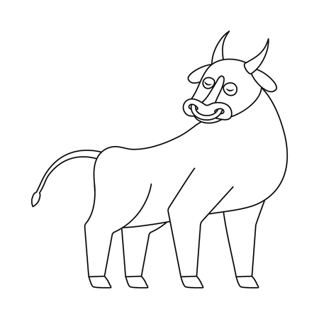 Vector design of bull and cow sign. Set of bull and beef vector icon for stock.