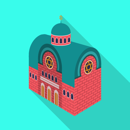 Isolated object of synagogue and church icon. Collection of synagogue and judaism vector icon for stock.