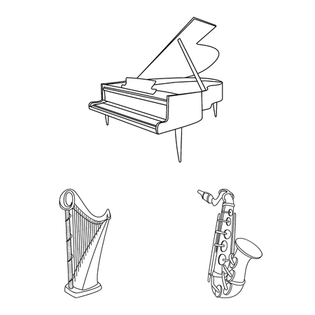 Vector illustration of music and tune logo. Set of music and tool stock symbol for web. Logo