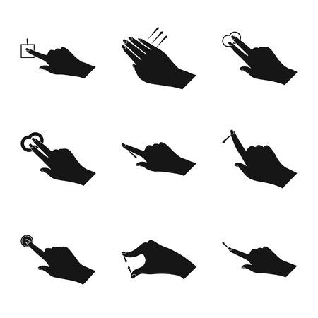 Vector illustration of touchscreen and hand logo. Collection of touchscreen and touch stock vector illustration. Logo