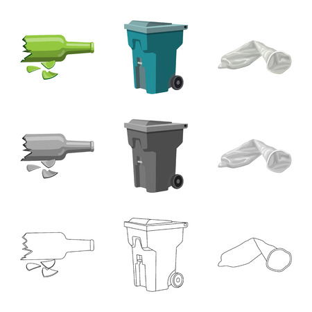 Isolated object of dump and sort sign. Set of dump and junk stock vector illustration.