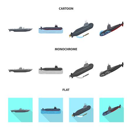 Vector design of war  and ship logo. Set of war  and fleet stock vector illustration. Ilustrace