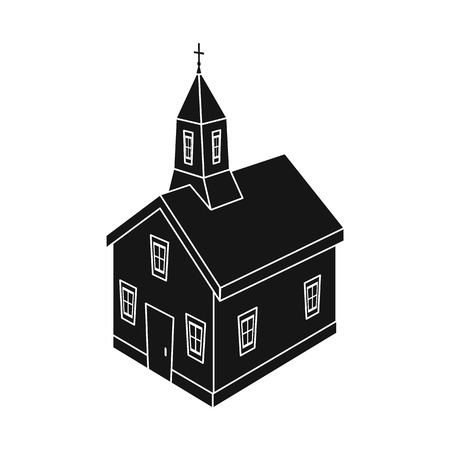 Vector illustration of church and christian symbol. Collection of church and steeple stock symbol for web. Ilustração