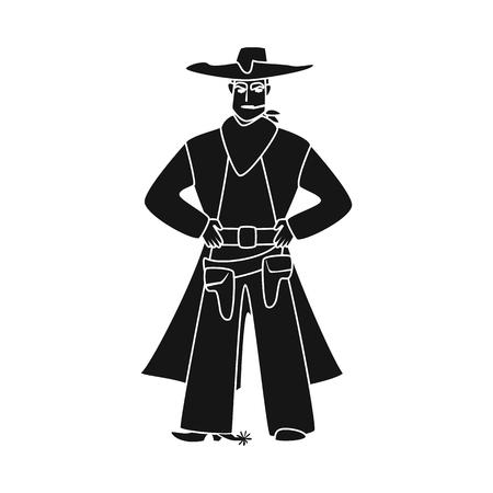 Vector design of cowboy and man icon. Collection of cowboy and hat vector icon for stock. 向量圖像