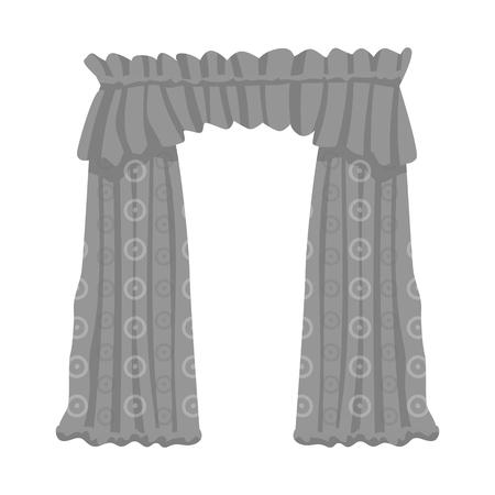 Isolated object of drapes and cornice logo. Set of drapes and cosiness stock symbol for web. Illusztráció