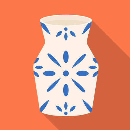 Vector illustration of vase and clay logo. Set of vase and interior vector icon for stock. Vettoriali