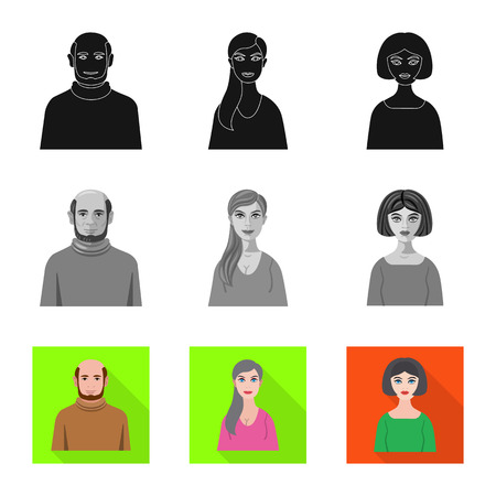 Isolated object of hairstyle and profession. Collection of hairstyle and character  vector icon for stock.