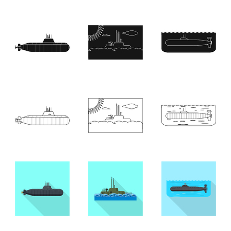 Isolated object of war  and ship. Collection of war  and fleet stock vector illustration.