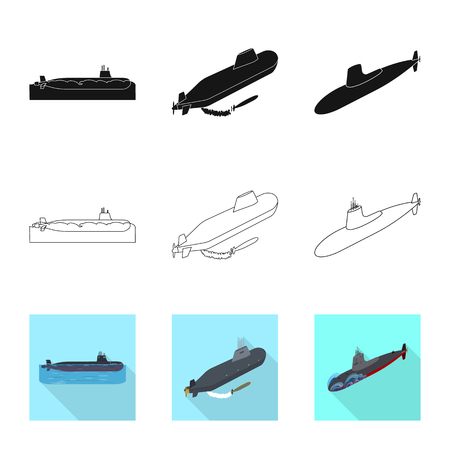 Isolated object of war  and ship. Collection of war  and fleet vector icon for stock.