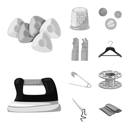 Isolated object of dressmaking and textile icon. Collection of dressmaking and handcraft vector icon for stock.