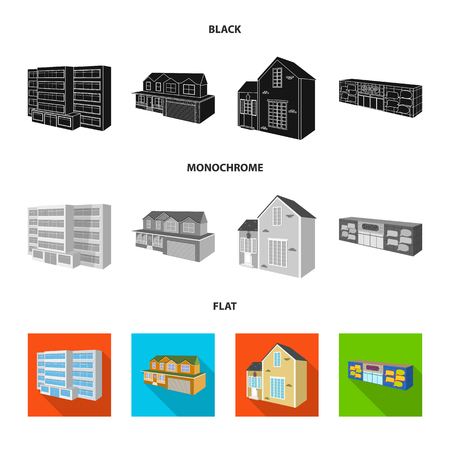 Vector illustration of facade and housing. Set of facade and infrastructure vector icon for stock.  イラスト・ベクター素材