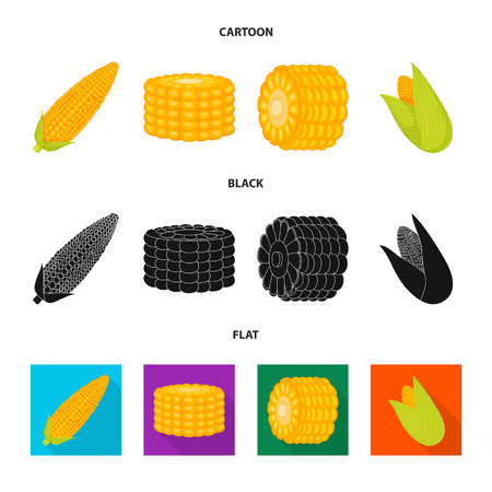 Vector illustration of cornfield and vegetable icon. Collection of cornfield and vegetarian vector icon for stock. Ilustrace