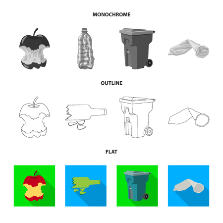 Vector illustration of dump  and sort sign. Collection of dump  and junk vector icon for stock.