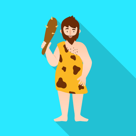 Vector illustration of neanderthal and man sign. Set of neanderthal and prehistoric stock vector illustration. Illustration