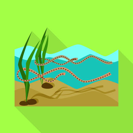 Vector design of wetland and grass logo. Set of wetland and ecology vector icon for stock. Иллюстрация