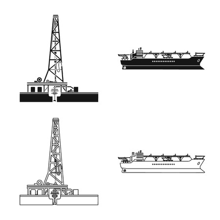Vector illustration of oil and gas logo. Set of oil and petrol vector icon for stock. Illustration