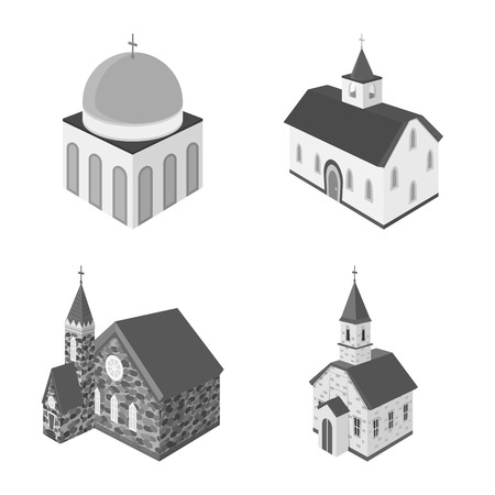 Isolated object of landmark and clergy symbol. Set of landmark and religion vector icon for stock. Ilustrace