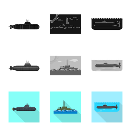 Vector design of war  and ship icon. Set of war  and fleet vector icon for stock. Çizim