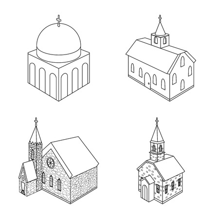 Vector illustration of architecture and building icon. Set of architecture and clergy stock vector illustration. Ilustrace