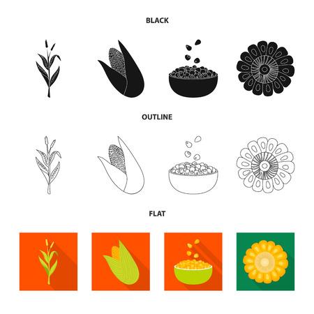 Vector illustration of cornfield and vegetable sign. Set of cornfield and vegetarian vector icon for stock. Vektorové ilustrace