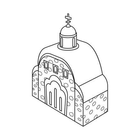 Isolated object of church and orthodox icon. Set of church and chapel stock vector illustration.