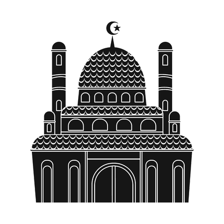 Isolated object of mosque and church logo. Collection of mosque and muslim stock symbol for web. Archivio Fotografico - 121790512