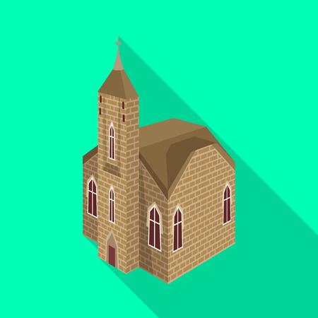 Vector design of church and catholic icon. Set of church and medieval vector icon for stock.