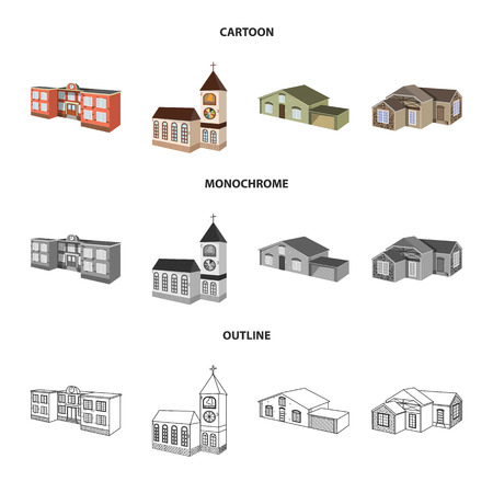 Vector design of facade and housing sign. Collection of facade and infrastructure vector icon for stock. Vectores
