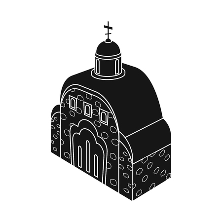 Vector design of church and orthodox icon. Collection of church and chapel stock vector illustration. Archivio Fotografico - 122793735