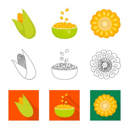 Vector design of cornfield and vegetable icon. Set of cornfield and vegetarian vector icon for stock. Vektorové ilustrace