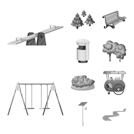 Vector design of park and city icon. Set of park and street stock vector illustration. Vecteurs
