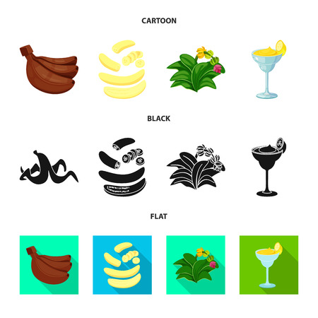 Vector design of natural and vegetarian symbol. Collection of natural and eating vector icon for stock. 일러스트