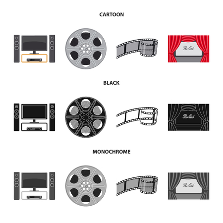 Isolated object of television and filming logo. Collection of television and viewing stock vector illustration.