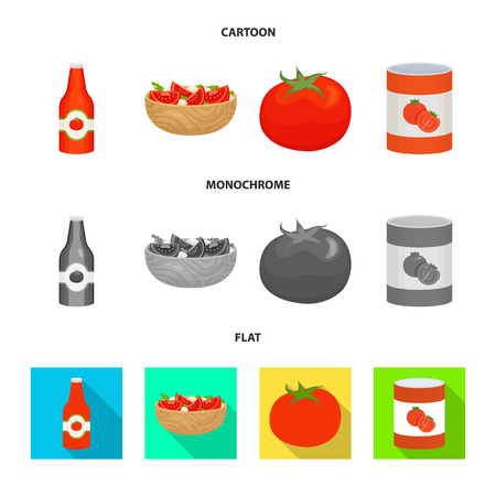 Vector design of vegetable and delicious logo. Collection of vegetable and natural stock vector illustration. Ilustração