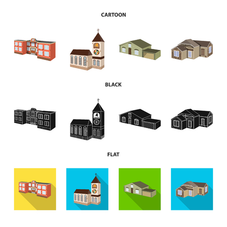 Vector illustration of facade and housing icon. Set of facade and infrastructure stock vector illustration.