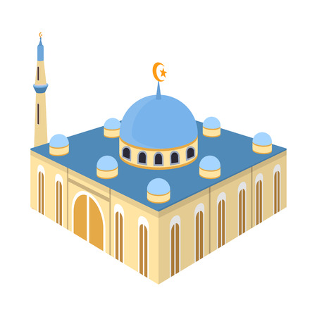 Isolated object of mosque and islam. Collection of mosque and muslim stock vector illustration. Illustration