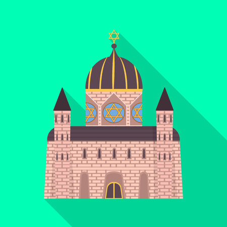 Isolated object of synagogue and jewish. Set of synagogue and old stock symbol for web. Ilustrace