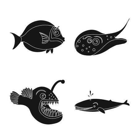 Vector design of sea and animal. Set of sea and marine vector icon for stock. Illustration